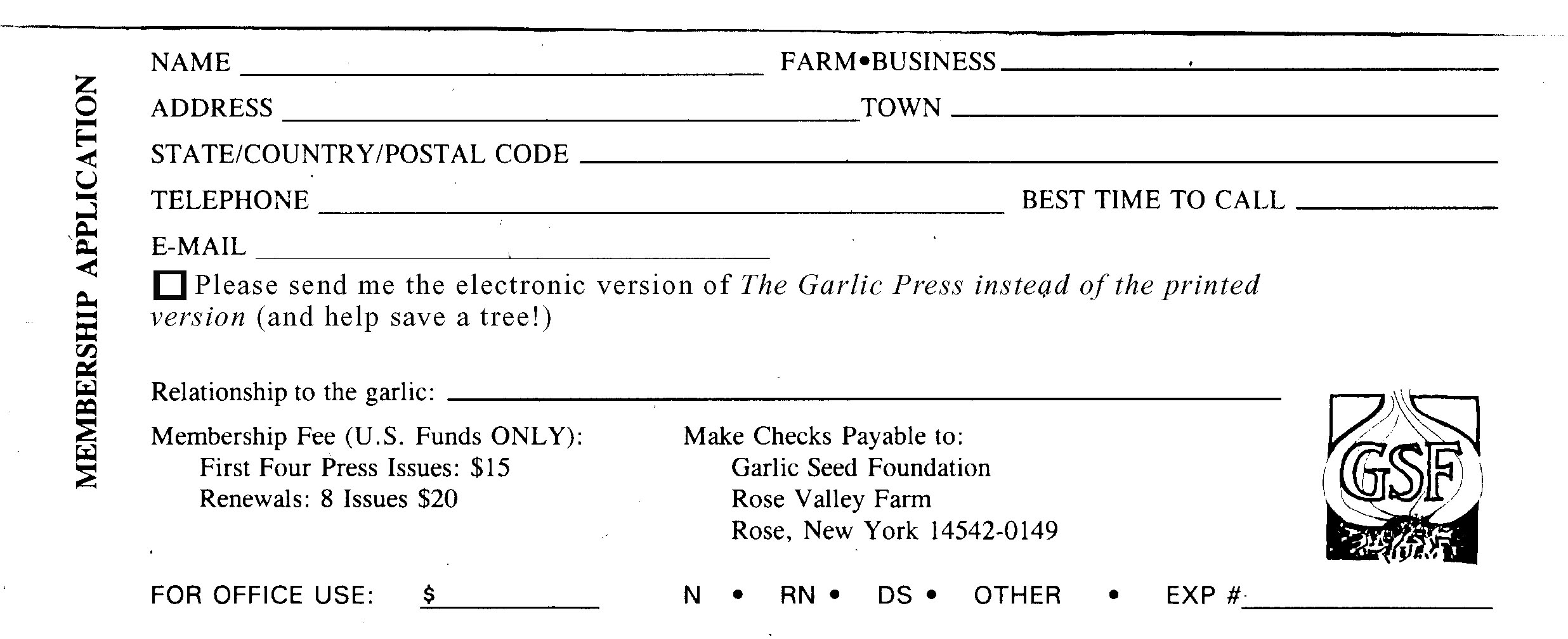 GSF Membership Join the Garlic Seed Foundation – Note Payables